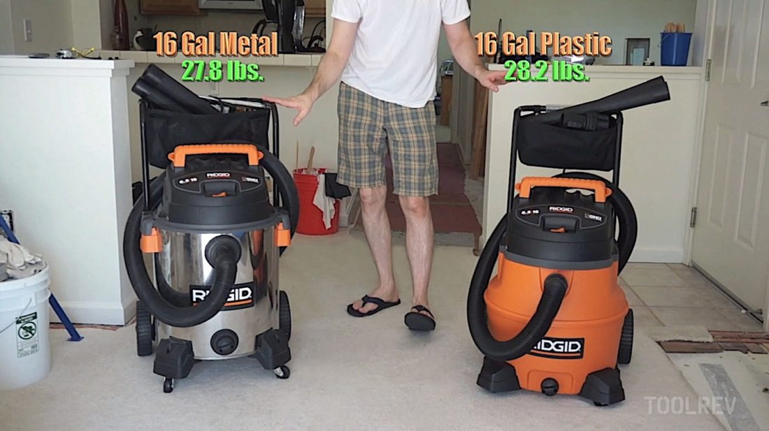 Ridgid stainless and plastic shop vacs side by side