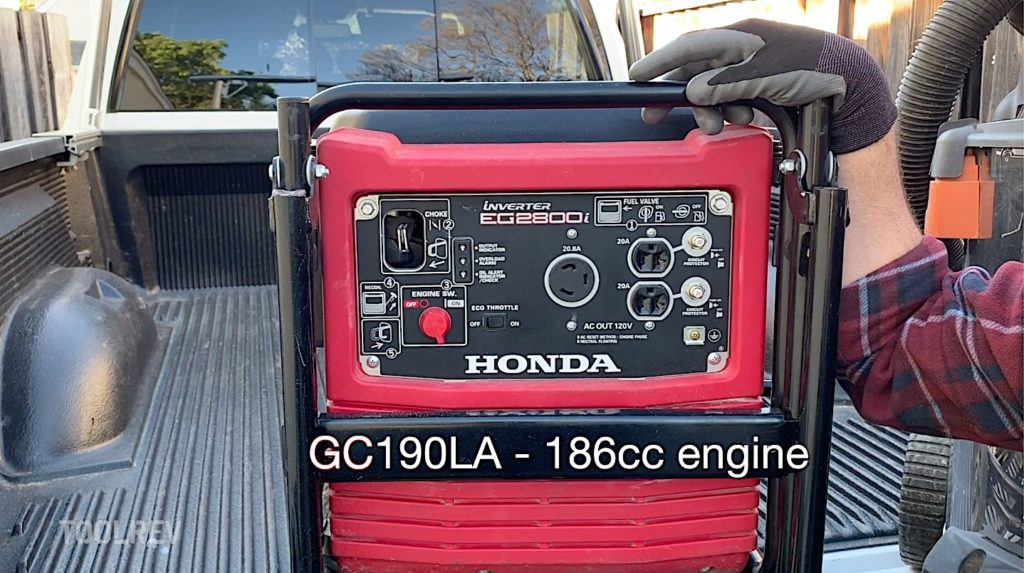 front view of Honda 2800 watt generator showing 186cc engine text