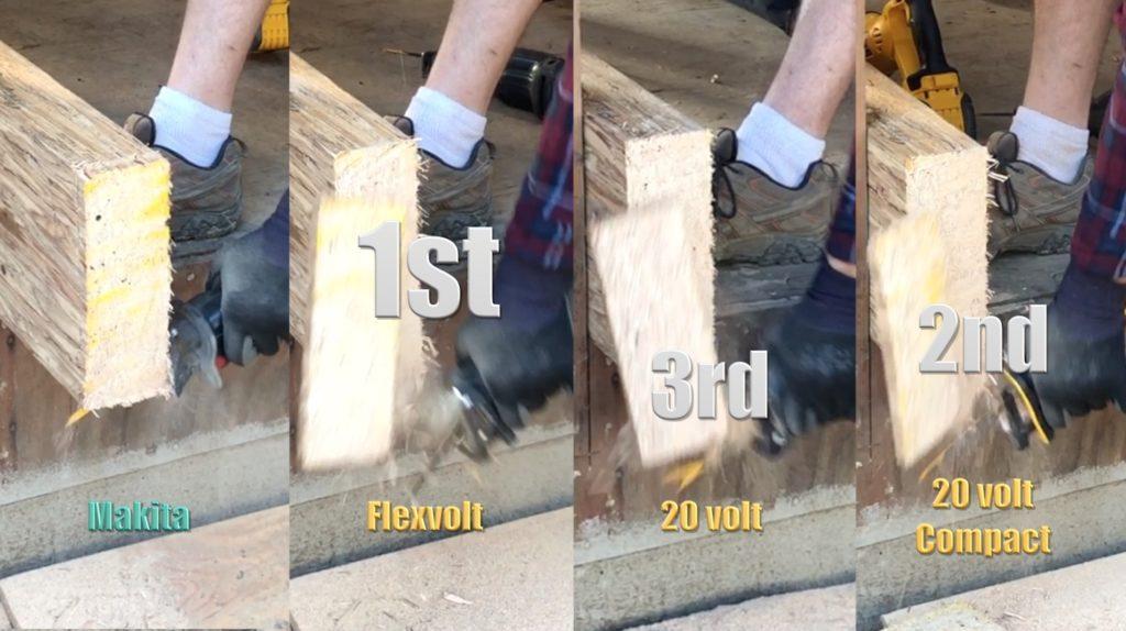 Three DeWalt and one Makita  reciprocating saws cutting through wood.