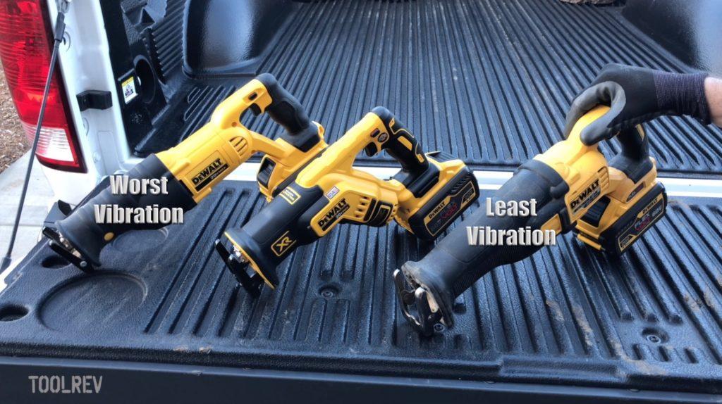 Three DeWalt cordless reciprocating saws