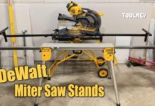 two dewalt miter stands